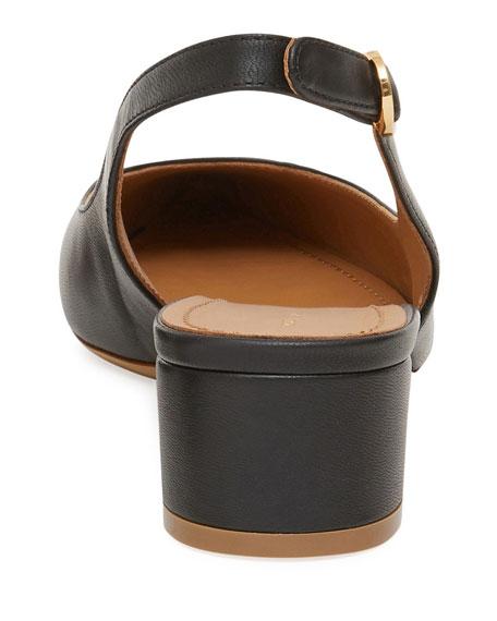 Low-Heel Lamb Leather Slingback Pump