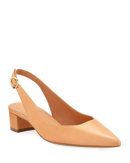 Low-Heel Napa Leather Slingback Pumps