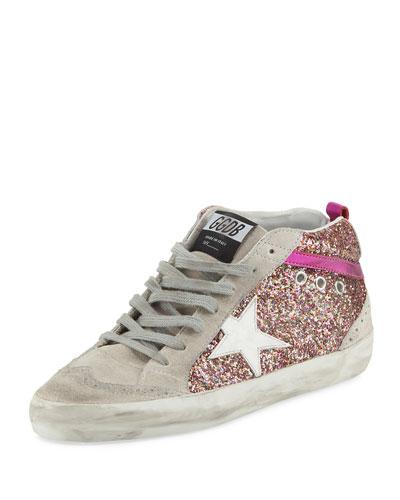 Glitter Mid-Top Platform Sneaker