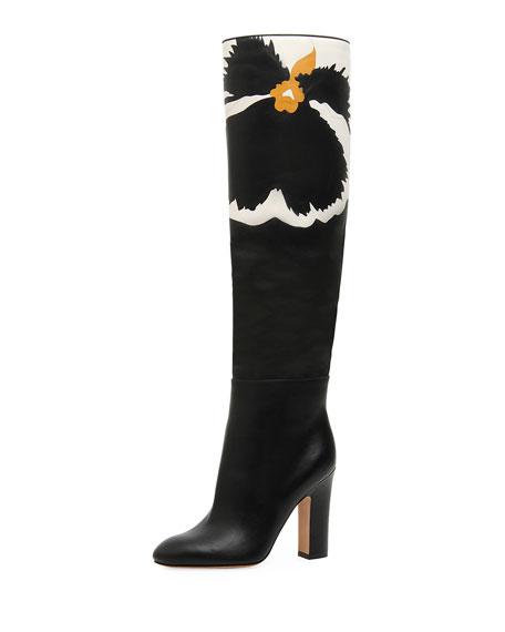 Valentino Garavani Pansy Bloom Leather Knee Boots