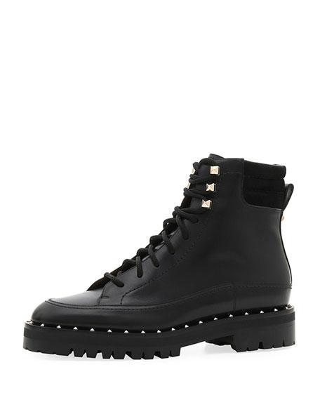 Valentino Garavani Soul Rockstud Leather Combat Boots
