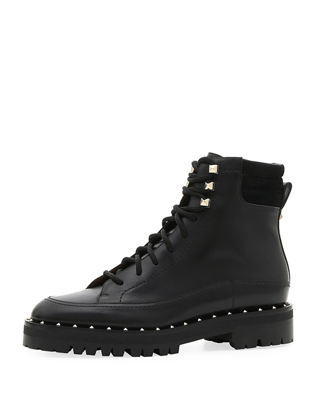 ec04d87f7ceff Valentino Garavani Soul Rockstud Leather Combat Boots