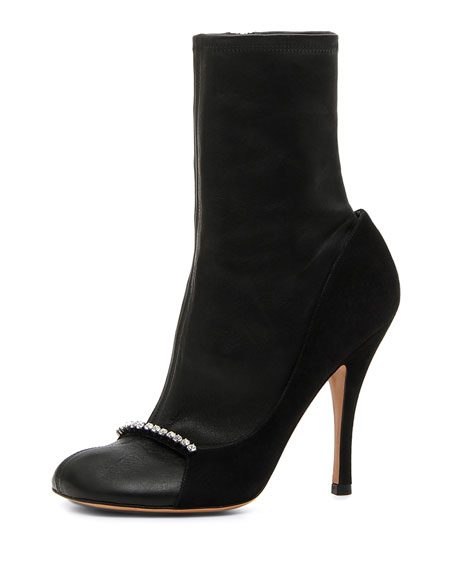 Valentino Garavani Ring-Toes Napa and Suede Stretch Sock
