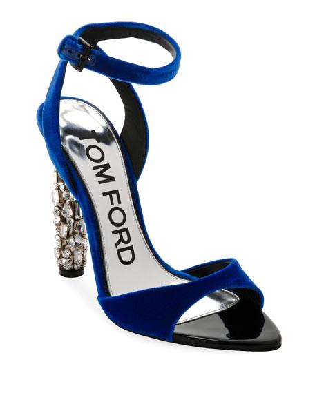 Velvet Ankle-Strap Sandal with Crystal Heel