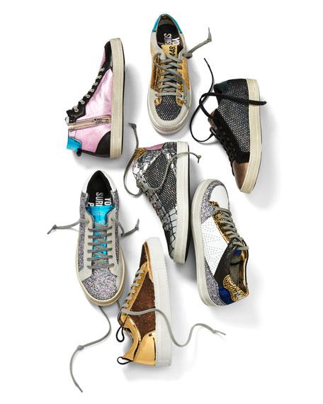 Queens Low-Top Sneakers in Velvet & Glitter