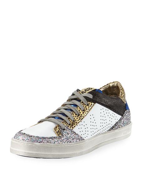 Queens Low-Top Sneakers In Velvet & Glitter, Blue/White