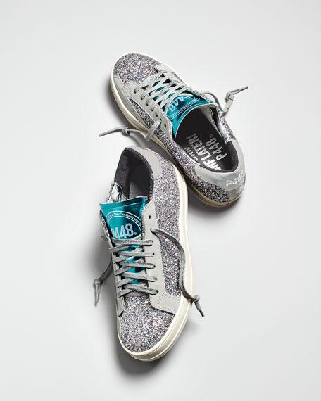 John Low-Top Sneakers in Multi-Glitter Fabric & Leather
