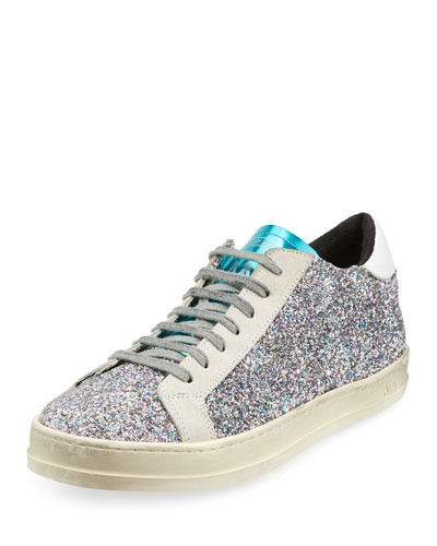 John Low-Top Sneakers in Multi-Glitter Fabric & Leather