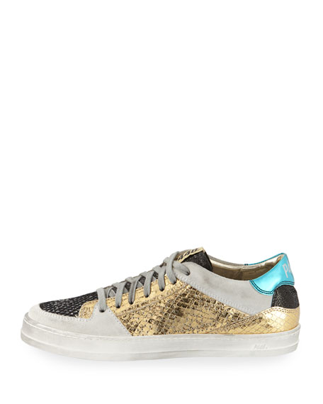 Queens Low-Top Sneakers in Glitter Mesh & Embossed Leather