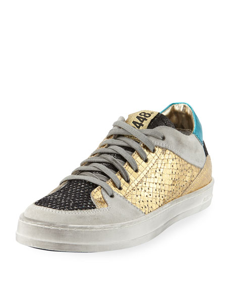 P448 Queens Low-Top Sneakers in Glitter Mesh &