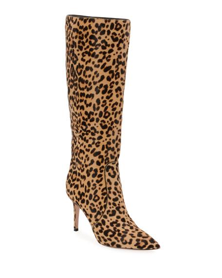 Hunter Leopard-Print Calf Hair Knee Boots - Lt. Brown Size 8.5 in Lt.Brown