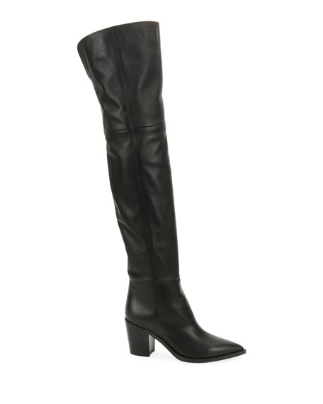 Leather Western Over-The-Knee Boots