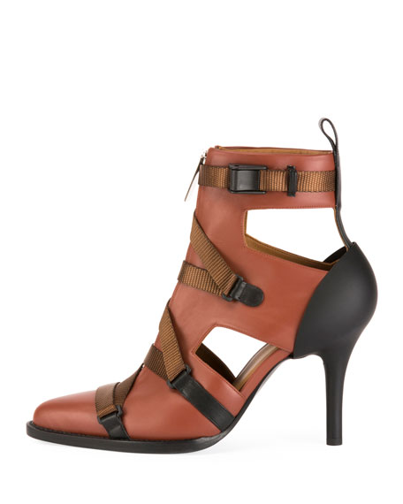 Chloe Tracy Colorblock Strappy Front-Zip Ankle Boot