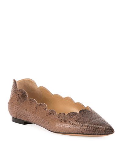 Lauren Scallop Lizard-Print Pointy-Toe Ballet Flats