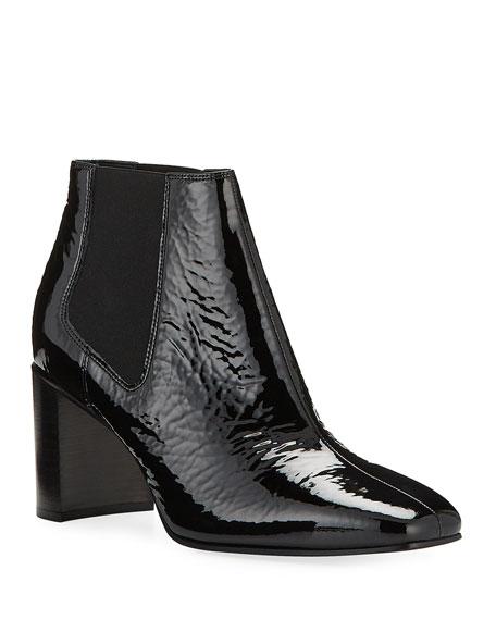 Aslen Mid-Heel Patent Chelsea Booties, Black
