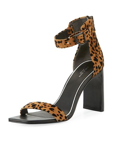 Ellis Cheetah Flocked Suede Ankle-Wrap Sandals