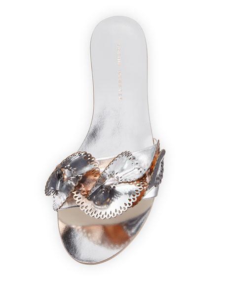 Soleil Embellished Mirror Leather Slide Sandals
