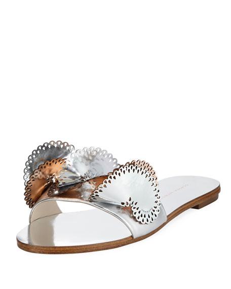 Sophia Webster Soleil Embellished Mirror Leather Slide Sandals