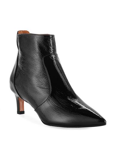 Marilisa Water-Resistant Shiny Leather Booties