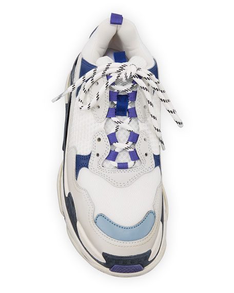 Triple-Sole Tricolor Mesh & Leather Trainer Sneaker