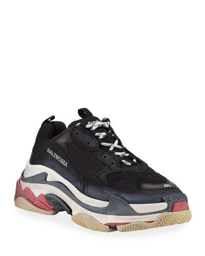 Triple S Mesh & Leather Trainer Sneaker, Noir