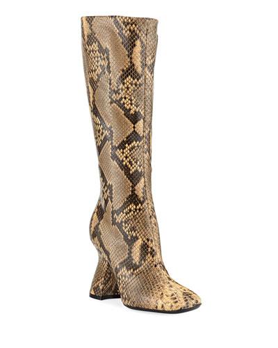 Louis-Heel Leather Knee Boot