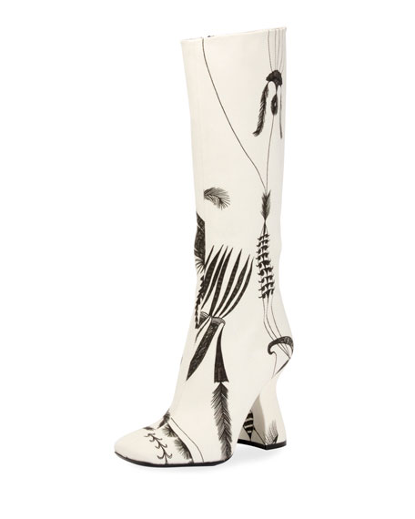 Louis-Heel Patterned Canvas Knee Boot