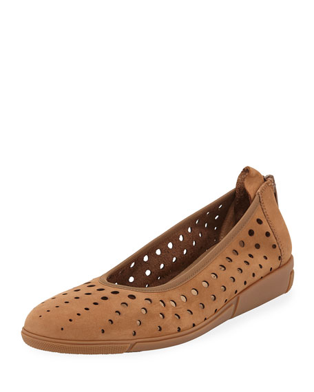 Dova Perforated Leather Comfort Ballet Flats, Brown