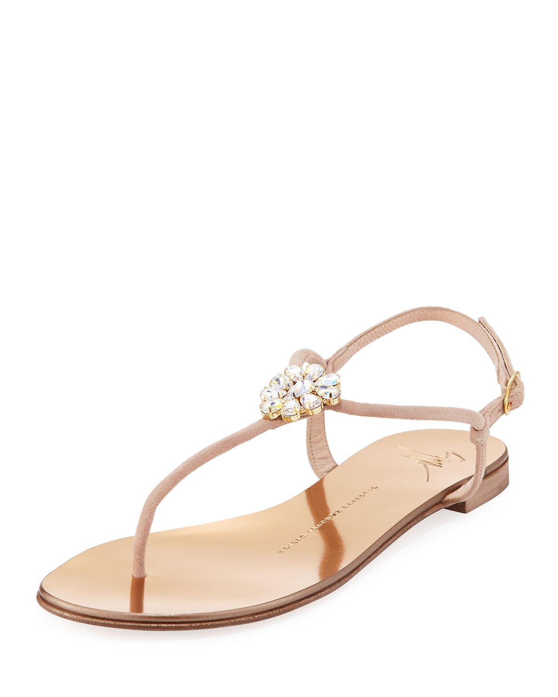 693453173075 Giuseppe Zanotti Crystal-Embellished Flat Thong Sandal