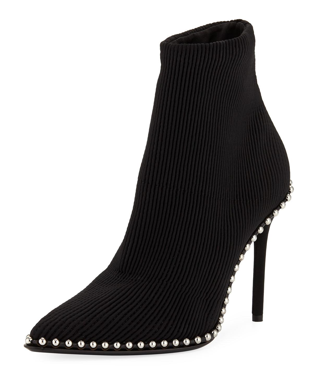 23a4196a1d4 Alexander Wang Eri Studded Stretch Knit Sock Booties