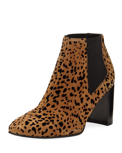 Aslen Cheetah-Print Suede Booties