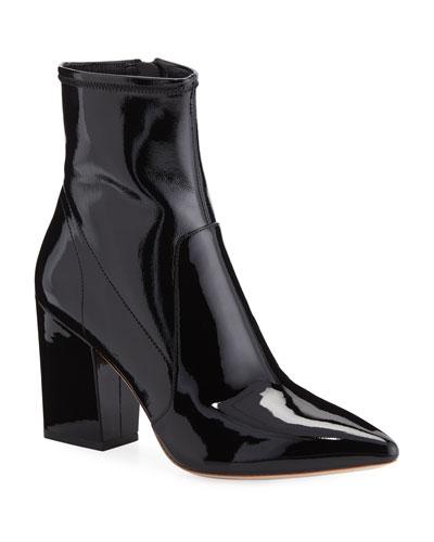 Isla Slim Patent Chunky-Heel Booties