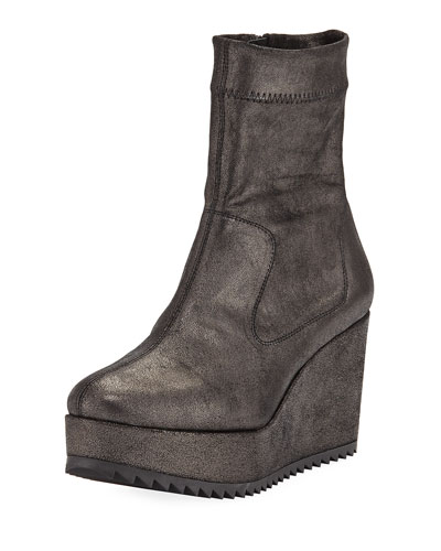 Urika Wedge Platform Powder Stretch Ankle Bootie