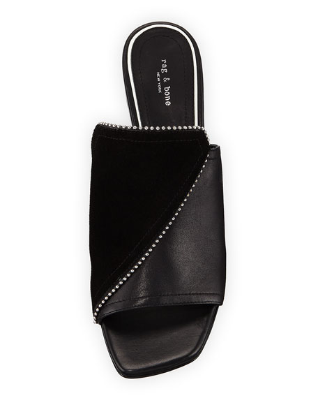 Myla Suede/Leather Studded Mules