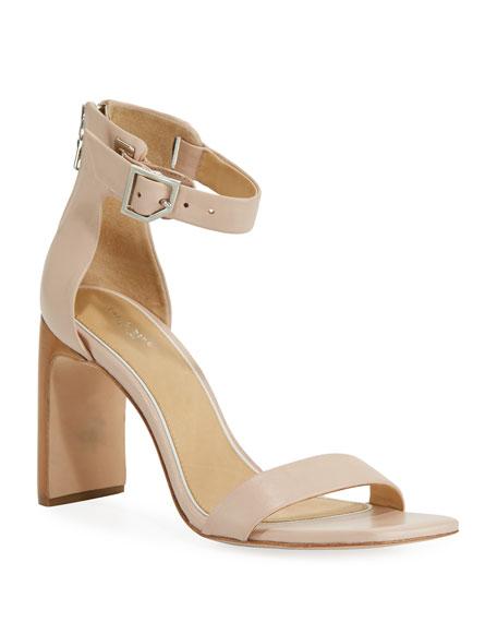 Ellis Leather Ankle-Wrap Sandal, Nude