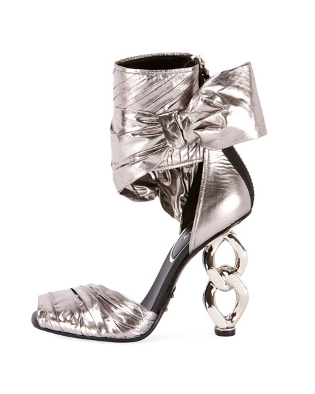 Ivy Wrap Chain-Heel Sandal