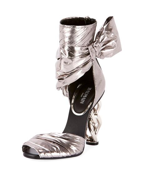 Balmain Ivy Wrap Chain-Heel Sandal