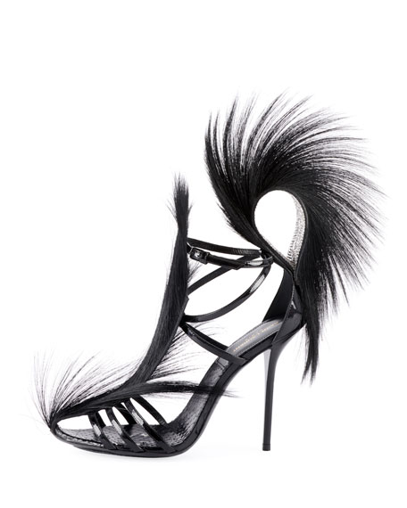 Jamie Python Sandals with Fur