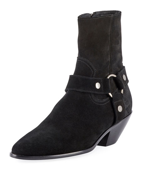 Western Leather Ankle Boots, Black