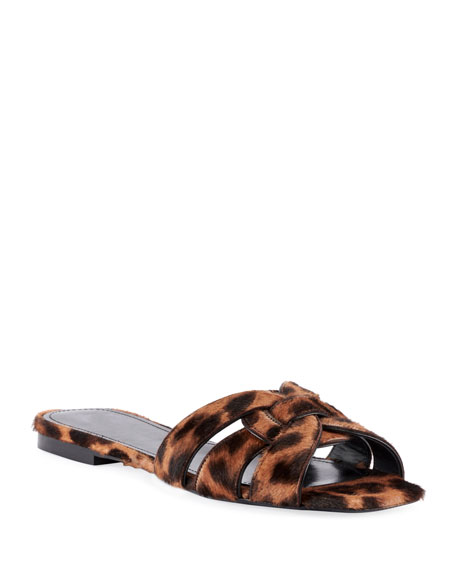 NU PIEDS LEOPARD-PRINT CALF HAIR SLIDE SANDALS