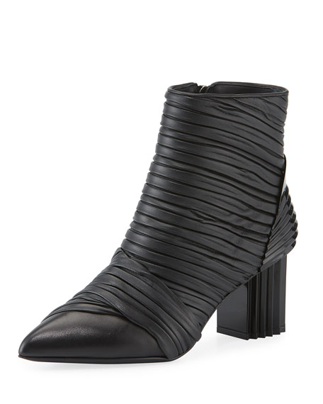 Irina Pleated Two-Tone Booties