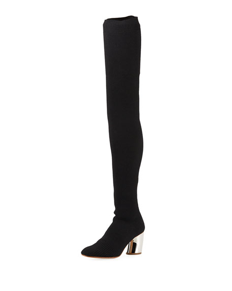 LAMY KNIT OVER-THE-KNEE BOOTS WITH METAL HEEL