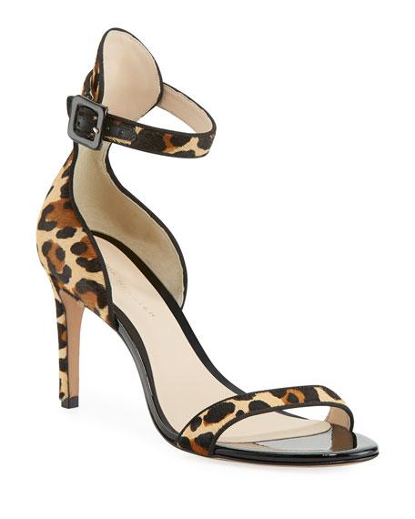 Sophia Webster Nicole Leopard-Print Hairhide Mid-Heel Sandals | Neiman Marcus