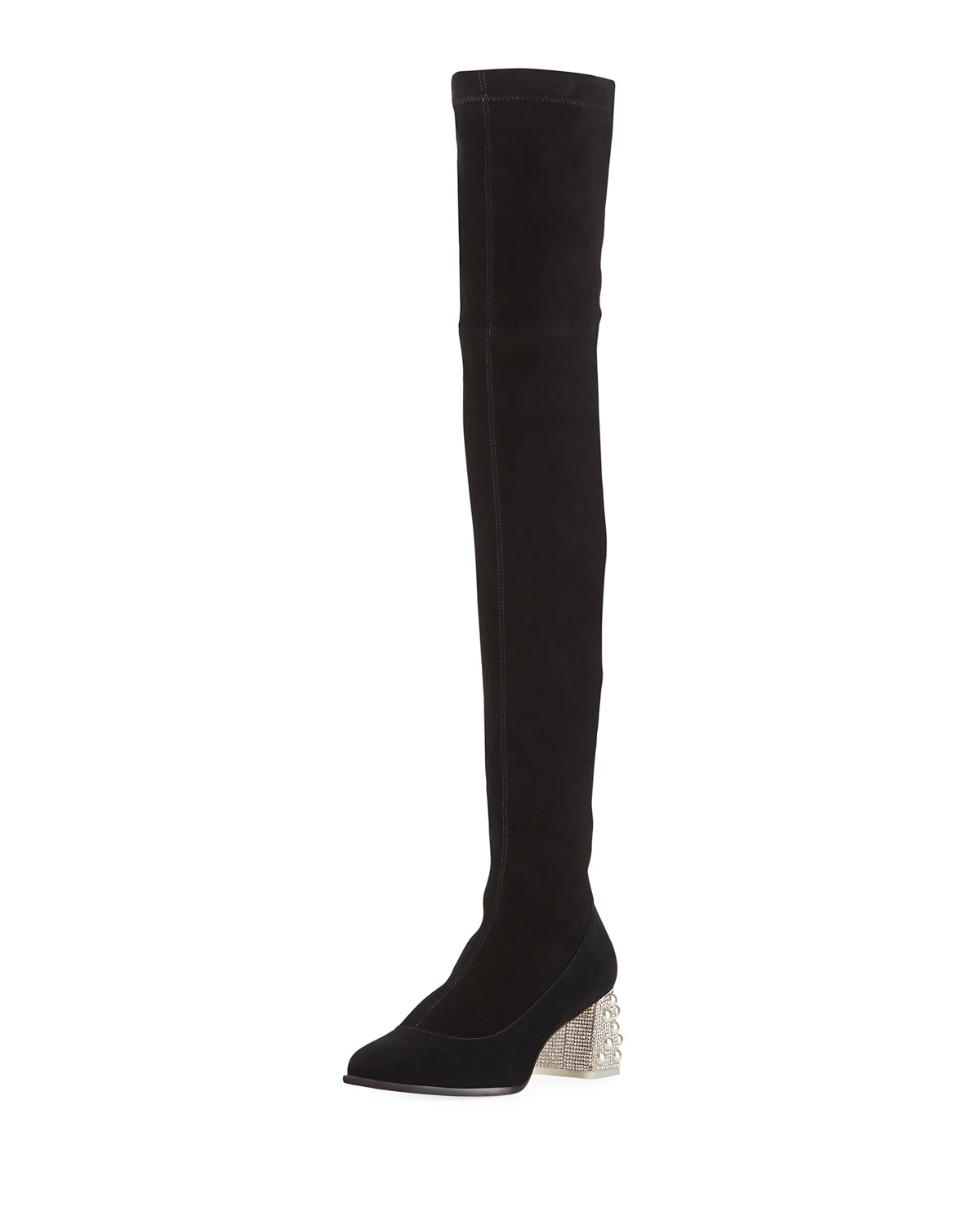 44518300cb5 Sophia Webster Suranne Over-The-Knee Boots with Embellished Block ...