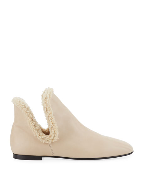 Eros Flat Shearling-Trimmed Booties