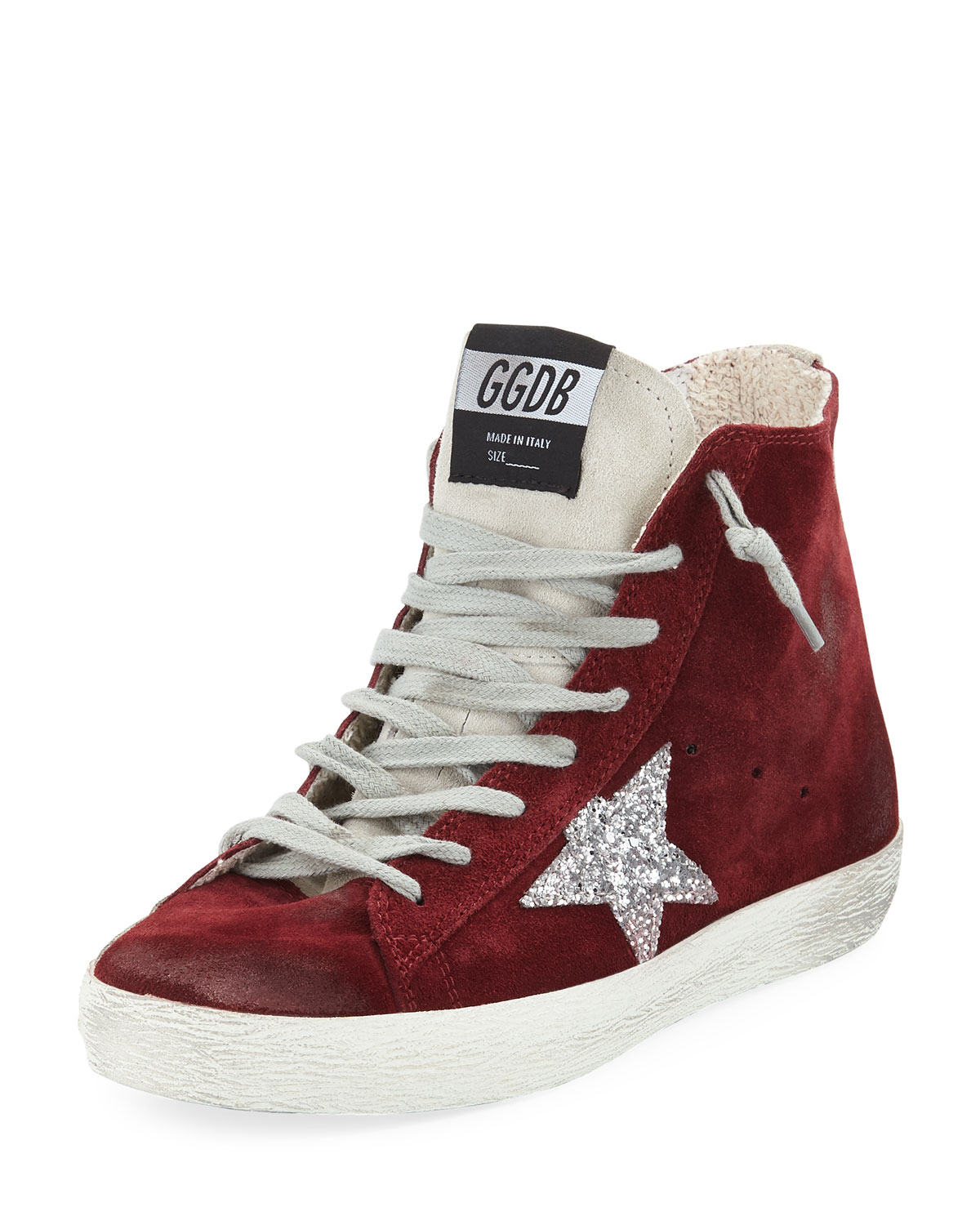 b18f73b87d93 Golden Goose Francy Suede High-Top Sneakers with Glitter Star ...