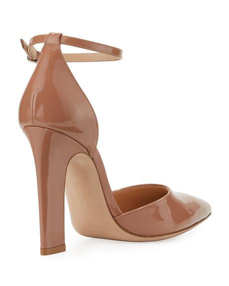 105mm Patent d'Orsay Ankle-Wrap Sandal