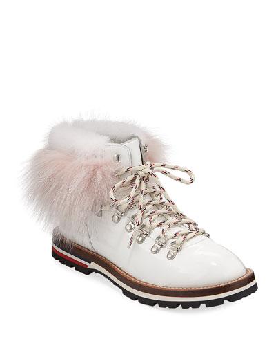 Fur-Trim Patent Leather Hiker Boots