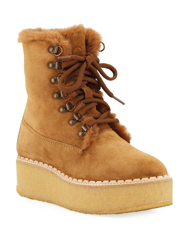 Melusine Suede Platform Boots by Moncler