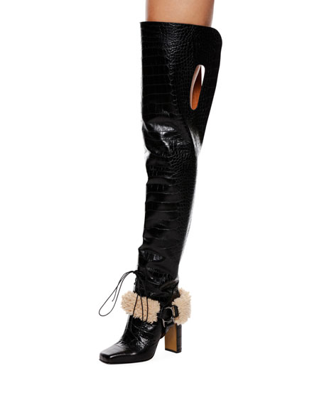 Off-White Equestrian Faux-Fur Trim Over-The-Knee Boot